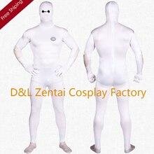 Free Shipping DHL Printing White Lycra Zentai Big Hero Baymax Halloween Costume SH1741
