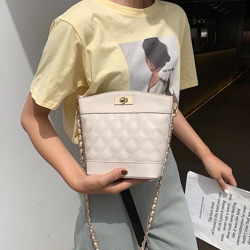Female Crossbody Bucket Bag Women 2019 Quality Leather Luxury Handbag Designer Sac Main Ladies Lattice Shoulder Messenger Bag in Shoulder Bags from Luggage Bags