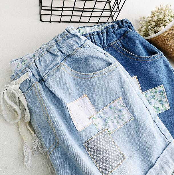 applique floral stitch  Denim shorts jeans  Elastic waist 2017 summer mori girl bear embroidery pocket shorts denim pants trousers mori girl summer
