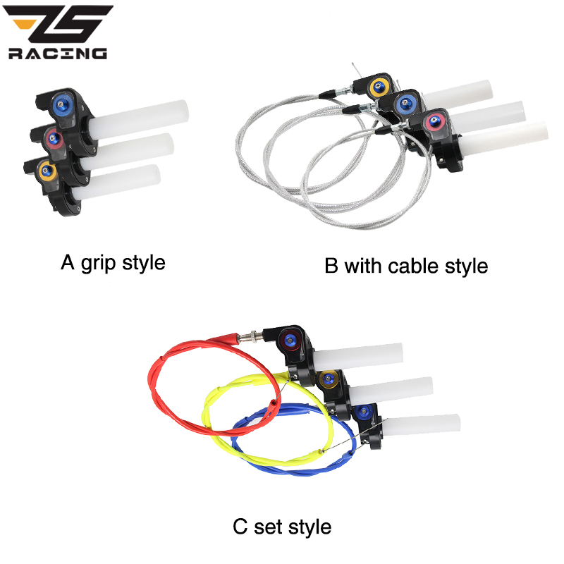 ZS Racing Handle Grip Motorcycle With 1/4 Quick Turn Throttle Dirt Pit Bike Motocross 7/8