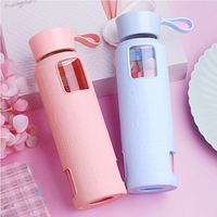 Glass Water Bottle Portable Leak Proof Creative Lovely Carry Rope Cover With Cover Car Mounted Heat