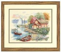 3TH Top Quality Popular Hotselling Counted Cross Stitch Kit Lake House Home Boat Yacht Dim 35230
