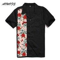 AOWOFS Retro Rockabilly Camicie Uomo Grande e Grosso Abbigliamento In Cotone Manica corta Skulls Halloween Rock N Roll Punk Shirt Plus. formato