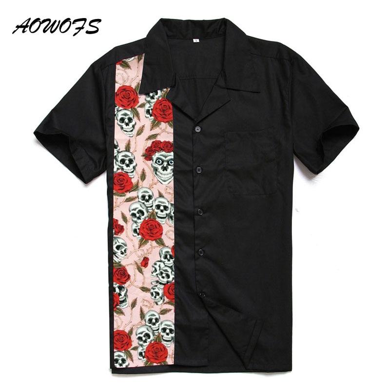 Aowofs Retro Rockabilly Shirts Men Big And Tall Clothing