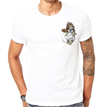 fashion popular Little sloth Print t shirt men Comfortable white t-shirt men's short sleeve tshirt Top quality Cool pocket(China)