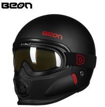BEON Motorcycle Helmet Retro Vintage Cruiser Chopper Scooter Cascos Moto Helmet 3/4 Open Face Helmet Removable Modular Mask все цены