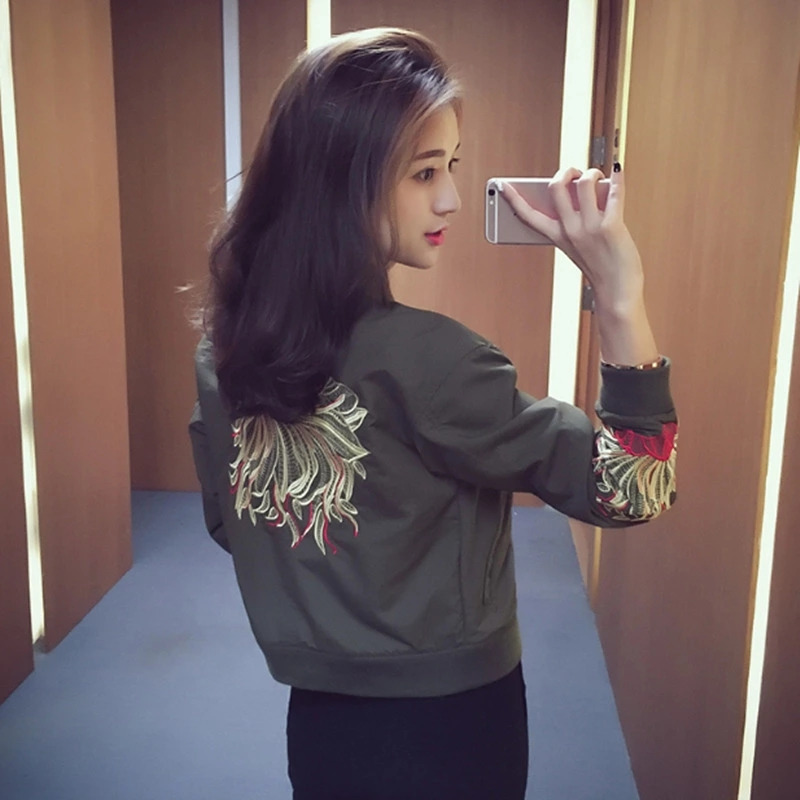 Spring Autumn Women Short Coat Baseball Uniform Embroidery Black Green Jackets for Female Lady Casual Loose Full Sleeves Zippers 25