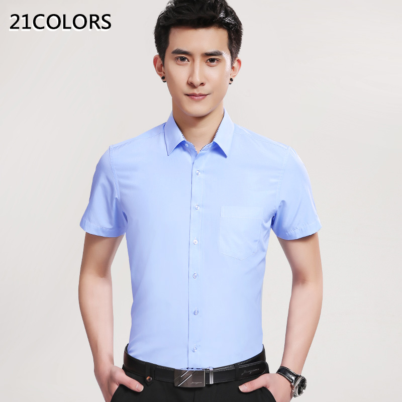 2016 brand summer plus size men 39 s short sleeve shirt for Mens dress shirt sleeve length