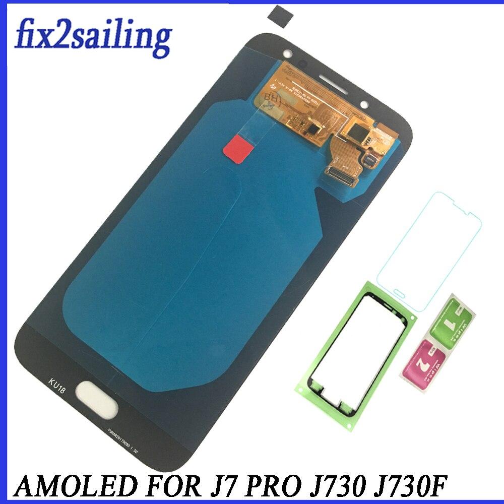 Super AMOLED Pour Samsung Galaxy J7 Pro 2017 J730 J730F LCD Affichage à L'écran Tactile Digitizer Assemblée Remplacement livraison gratuite