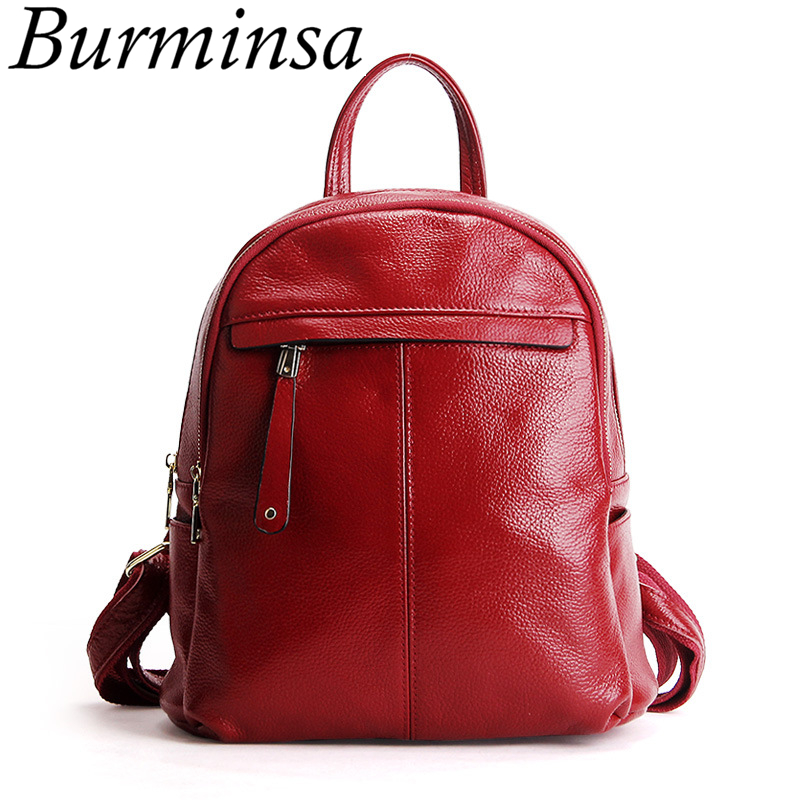 Burminsa Brand Real 100% Genuine Leather Backpack School Bags For Teenage Girls Small Women Travel Bags Pack Mochila Feminina backpack school bags for teenage boys and girls suissewin air small ergonomic three dimensional outer mochila feminina sn2006k