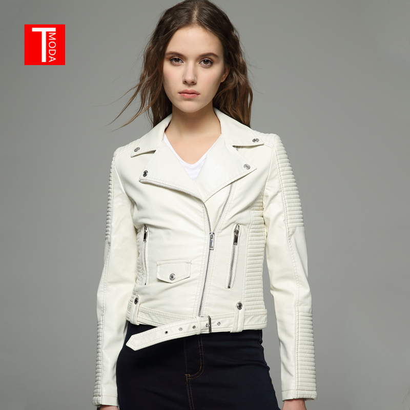 2018 New Autumn Witner Women Motorcycle Faux PU Leather White Jackets Lady Biker Outerwear Coat With Velvet inside