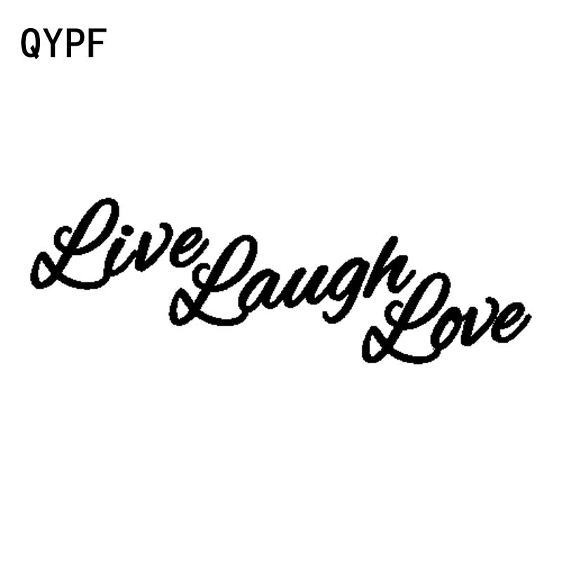 QYPF 16CM*5.3CM Fashion Retro-reflective LIVE LAUGH LOVE Vinyl Car Sticker Decal Black Silver C15-1975