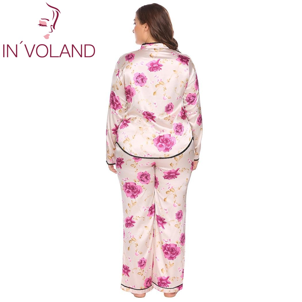 eca2133a8d IN VOLAND Large Size Women Pajama Set L 4XL Satin Sleepwear Lounge Nightwear  Stand Color Long Sleeve Floral Top Pants Plus Size-in Pajama Sets from ...