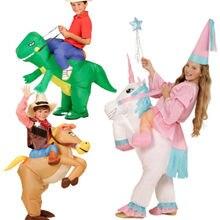 Карнавал Purimcostume для детей костюмы животных надувной динозавр ковбой костюм Надувные Корова Костюм