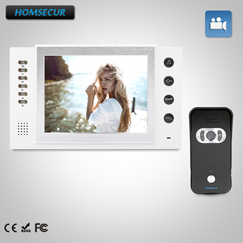 HOMSECUR 8 Wired Video&Audio Home Intercom+Black Camera for House/Flat 1C1M : TC021-B Camera(Black)+TM801R-W Monitor(White)