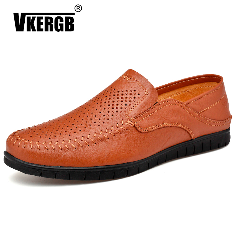 VKERGB High Quality Natural Leather Men Shoes Handmade Fashion Casual Shoes Moccasins For Summer Walking Breathable Casual