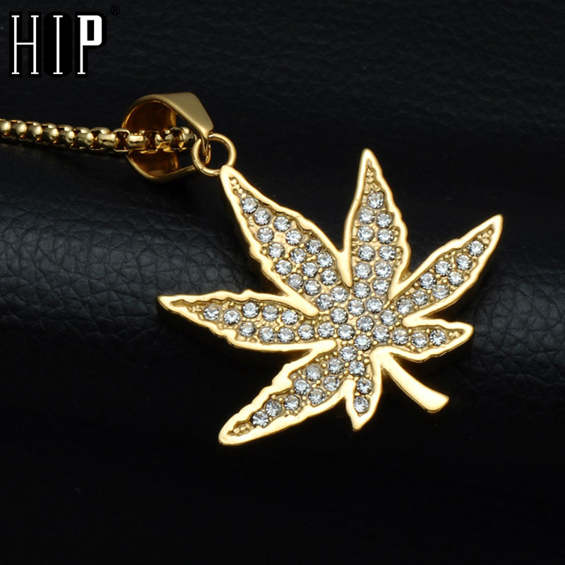 HIP Hop Bling Ice Out Full Rhinestone <font><b>Cannabiss</b></font> Maple Leaf <font><b>Necklaces</b></font> Gold Color Titanium <font><b>Necklaces</b></font> & Pendants for Men Jewelry image