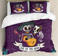 Day Dead Duvet Cover Set Invitation To Traditional Celebration Party Mexican Music Performance, Decorative 4 Piece Bedding Set
