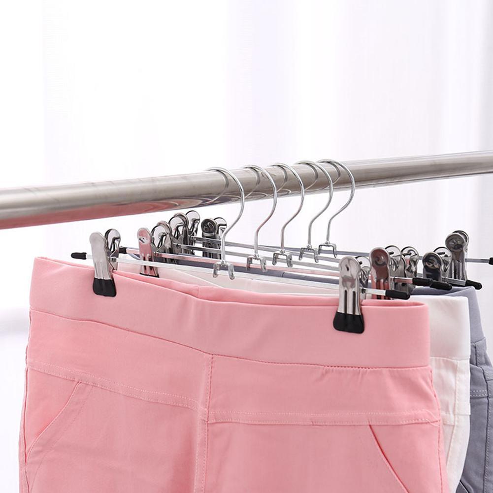 10 шт./лот, нержавеющая сталь, вешалка для брюк, зажим, противоскользящая прищепка для брюк, зажим для одежды, вешалка для белья, для организации одежды, прищепки