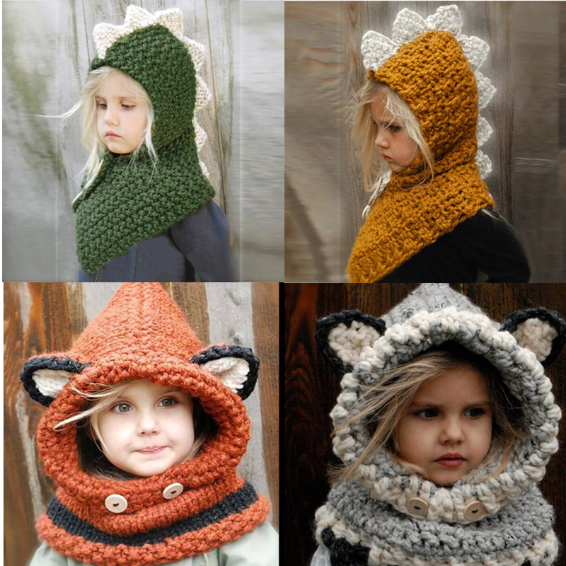 Baby Toddler Girls Boys Warm Hat Animal Earflap Knitted Cap Coif Hood Scarf Set