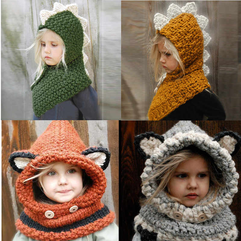 7ce231e2d52 Winter Dinosaur Hats for Baby Toddler Kids Fox Warm Woolen Hats Coif Hood  Scarf Caps Boys
