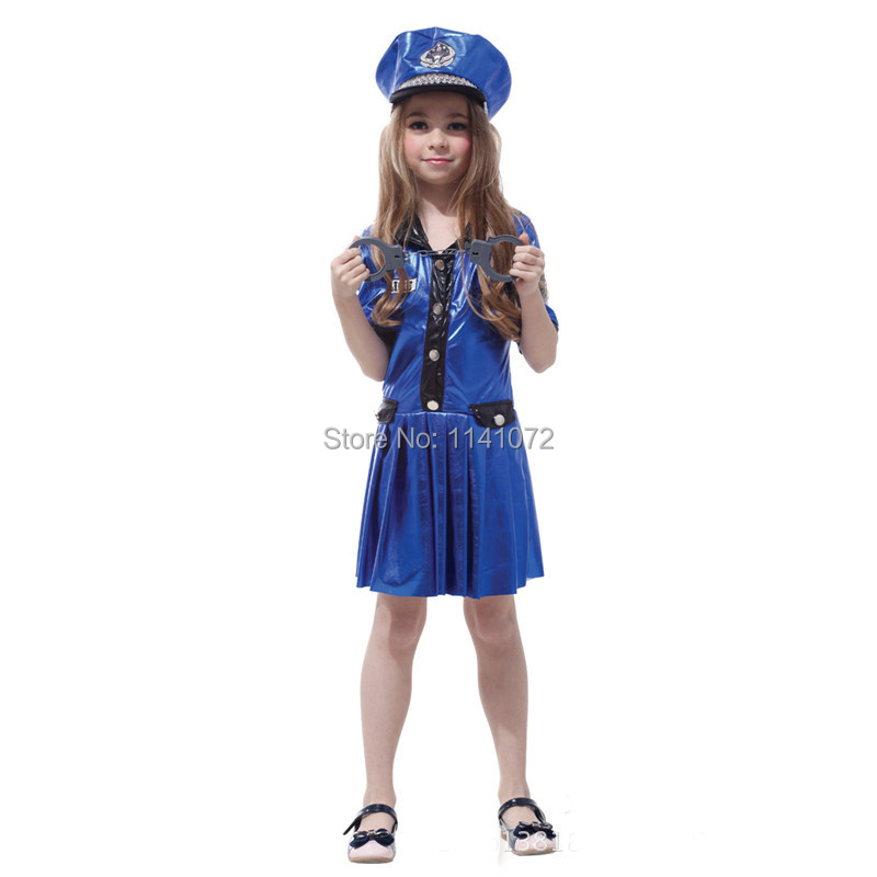 2014 fashion costumes for kids with hat police for girl on halloween costume for kids - Girls Cop Halloween Costume
