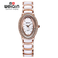 WEIQIN 2016 Women S Fashion Watches Rhinestone Rose Gold White Quartzwatch Ladies Dress Watch Hours Gift