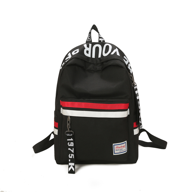Strips Backpack Preppy Style Black Letter School Backpack For Teenage Girls Japanese and south Korean style Leisure Travel Bag attack on titan freedom wings emblem printing korean japanese style school backpack anime backpacks ab197