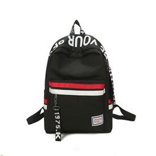 Strips Backpack Preppy Style Black Letter School For Teenage Girls Japanese and south Korean style Leisure Travel Bag