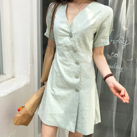 2019 New Fashion Green Cotton Linen Dress Vintage Thin Short sleeves Casual Dress Single breasted V neck