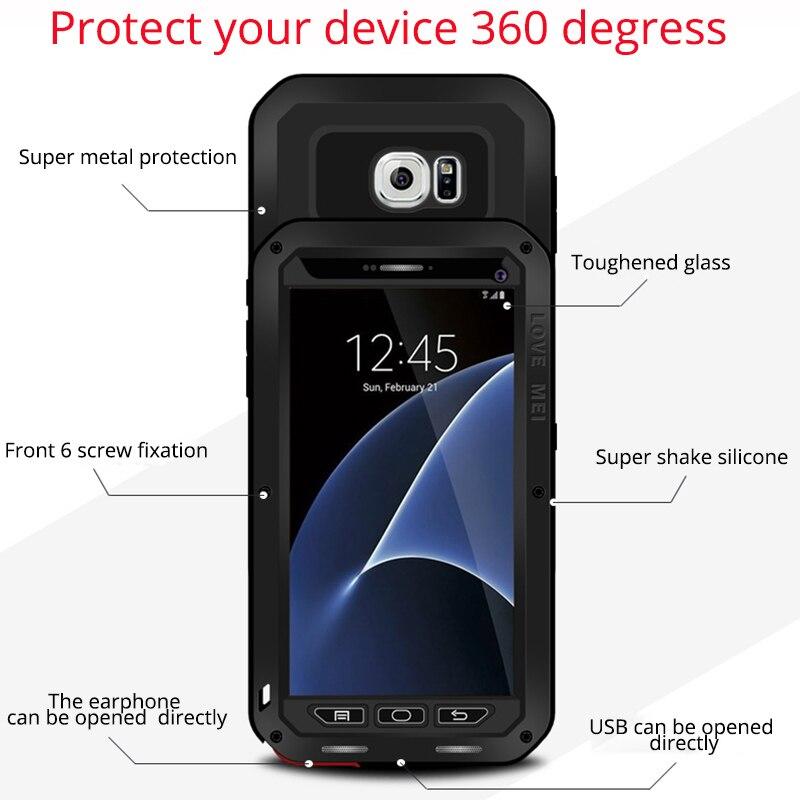 imágenes para Para Samsung Galaxy Cubierta de la Caja Del Metal de Aluminio A Prueba de Golpes S7 + Gorilla Glass 360 de la cubierta completa para samusng s7 lujo pesado deber armor