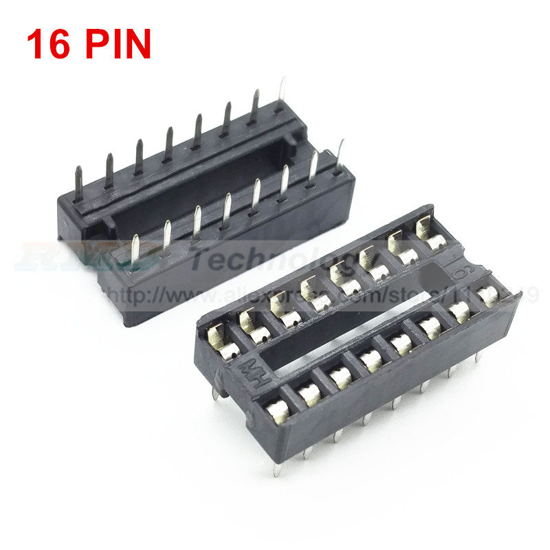 16pin ic seat 16 pin 2.54 mm PIN Pitch ic socket chip base ic sockets slot 50pcs/lot free shipping free shipping ad9857astz ad9857 qfp 10pcs lot ic