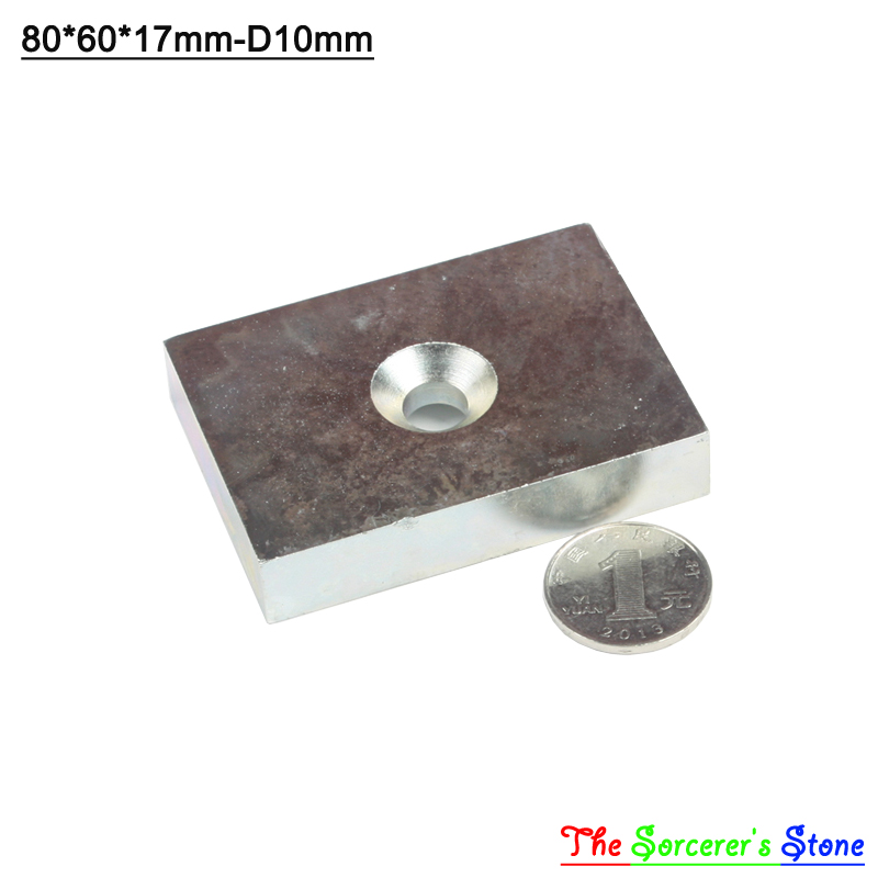 1pcs Super Strong 80x60x17mm With Hole 10mm  Rare Earth Neodymium Block Magnet  N52 Free Shipping 10pc lot 60mm x 20mm x 10mm super strong block magnets 60x20x10mm rare earth neodymium magnet n52 60 20 10mm track no aps0523