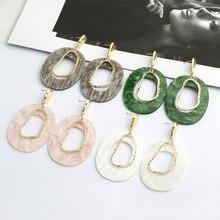 Women Acrylic Resin Retro Geometric Earrings Temperament Metal Irregular Statement Ethnic Earring