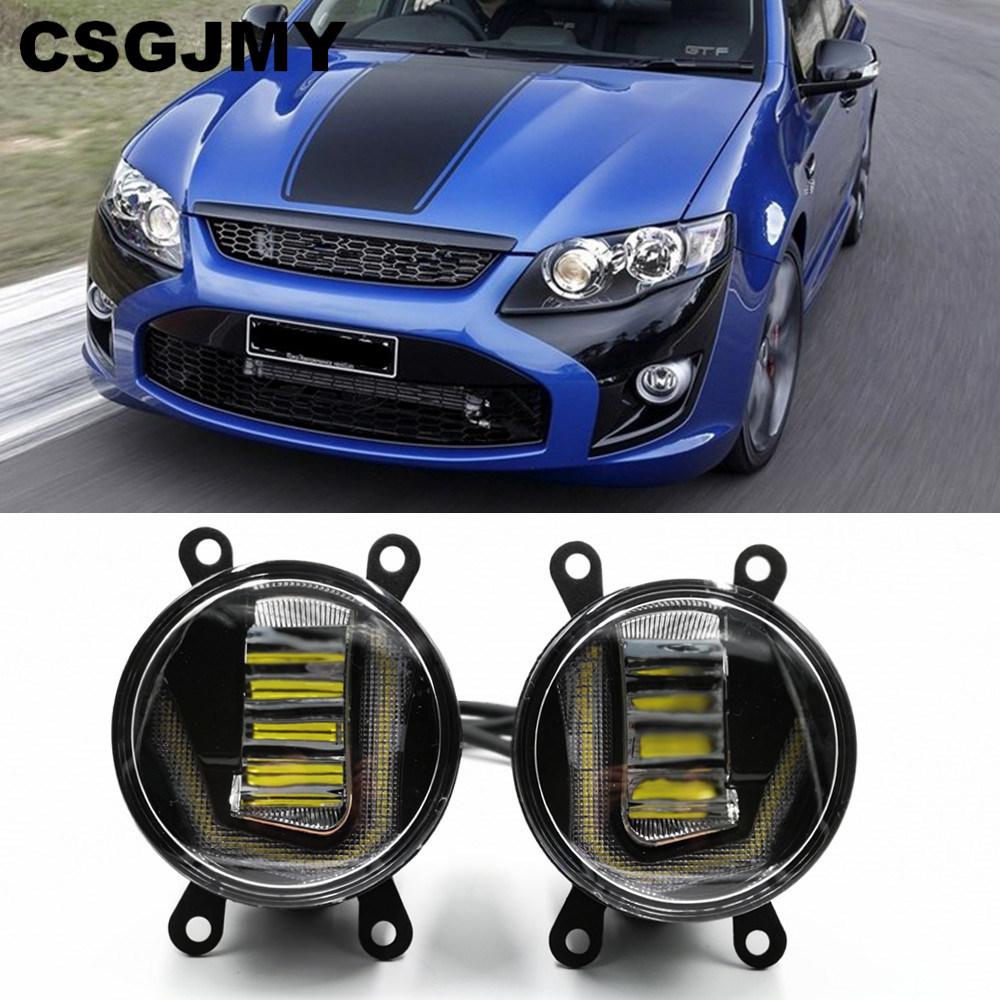 3-IN-1 Functions LED For Ford Falcon 2014 2015 2016 2017 DRL Daytime Running Light Car Projector Fog Lamp with yellow signal