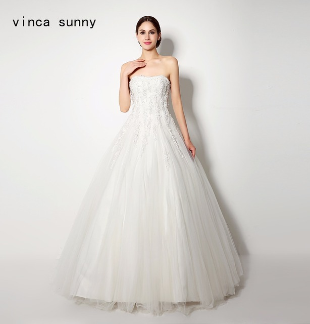 New Design A Line Lace Wedding Dresses 2018 Strapless Lace up ...