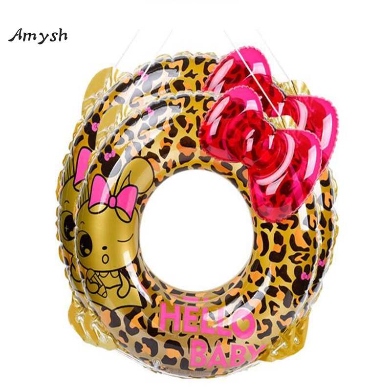 Amysh Inflatable Circle Mattress Swimming Leopard bowknot Pool Float Swim Ring Seat Boat Raft Summer Water Pool inflatable toys