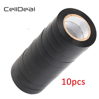 CellDeal 10 Rolls of Black Electrical Pvc Insulation Insulating Tape 17mmX20m Strong Mounting Tape Plumbing Supply Adhesive Tape