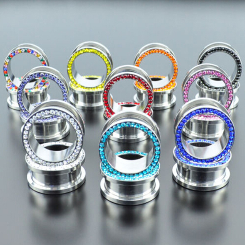 Multi color Flesh Tunnels Pair of Double Flared Screw