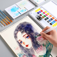 12/18/24/36 Colors Portable Travel Solid Watercolor Painting Set With Water Color Paint Brush Set Art Supplies For Drawing