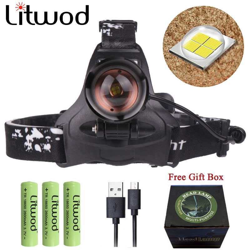 Z7 Litwod  Cree XHP70.2 Headlight Powerful Led Headlamp Rechargeable Power Bank Head Lamp Flashlight Torch T6 Head Light