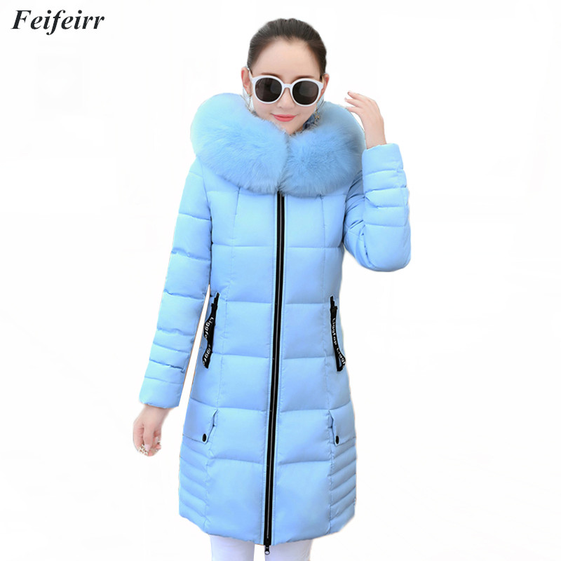 2018 Winter Jacket women Thick Warm Hooded Fur Collar Slim High quality Down Cotton   Parkas   Overcoat long Elegant Plus Size 3XL