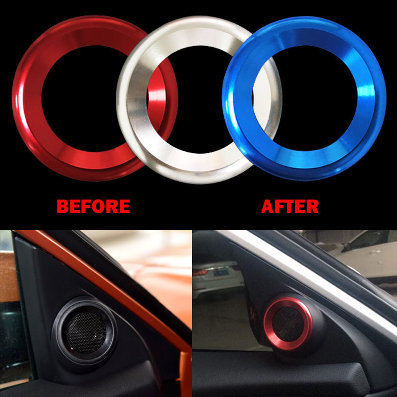 Car Door Audio Speaker Ring Cover Car Sticker Loudspeaker Circle Stereo Ring Trim Sound Trim for HONDA CIVIC 10TH 2016 2017 2018 lx 4846 universal key ignition ring decorative sticker for car silver