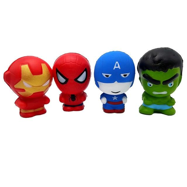A Marvel Super Herói Homem De Ferro Homem Aranha Squeeze Stress Relief Squishies Squishy Lento Subindo Jumbo Engraçado Brinquedos Figuras