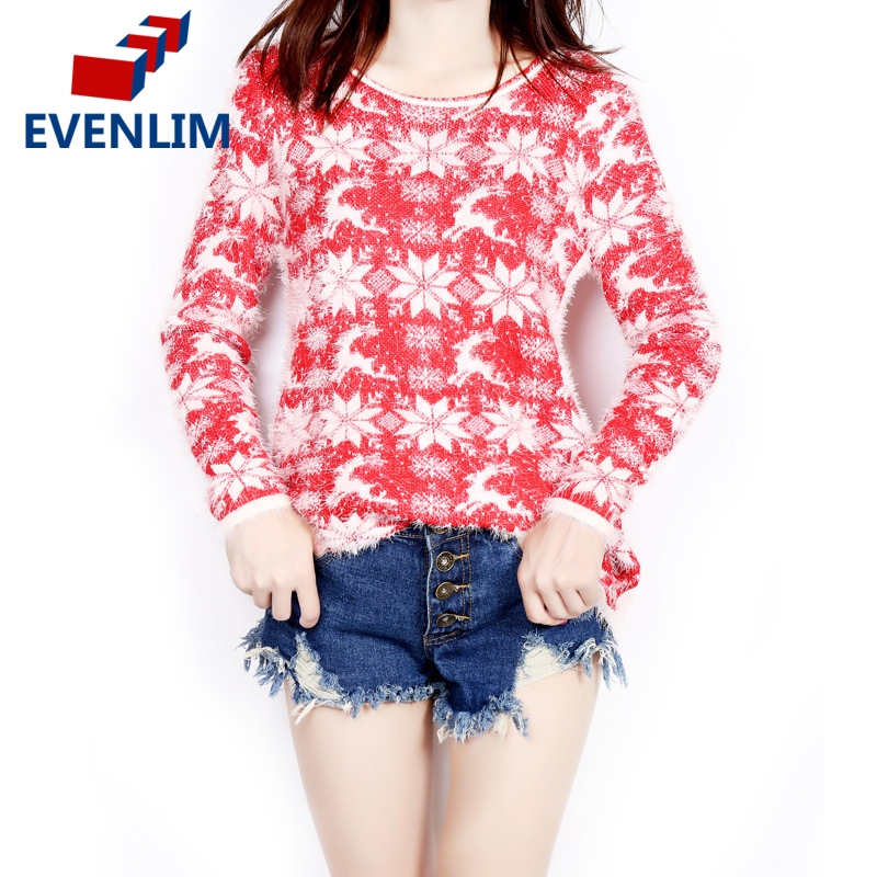 EVENLIM 2017 christmas knitted sweater dress women warm cute long sleeve o-neck ladies sweaters with deers pull femme MY310