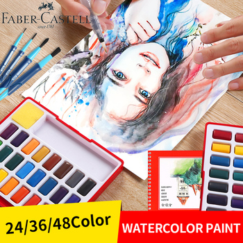 36 colors art solid pigment professional box with paintbrush portable set portable colored pencils for drawing paint watercolors 24/36/48Color Watercolor Paint Set Solid Professional Box With Paint Brush Portable Pigment For Watercolor Painting Art Supplies