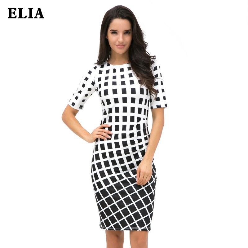 Simple Black White Plaid Sexy Bodycon Dresses Women Plus Size Dress