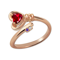 AILIN Personalized Key to Her Heart Ring with Birthstone Unique Fashion Jewelry for Women Rose Gold Color