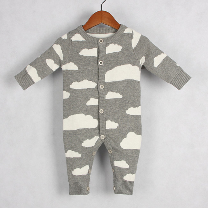 2018 Autumn Winter Toddler Romper Knitted Baby Boy Girl Clothes Cartoon Rain Clouds Newborn Infant Kids Bobo Bebe Jumpsuit 0-24M clouds without rain