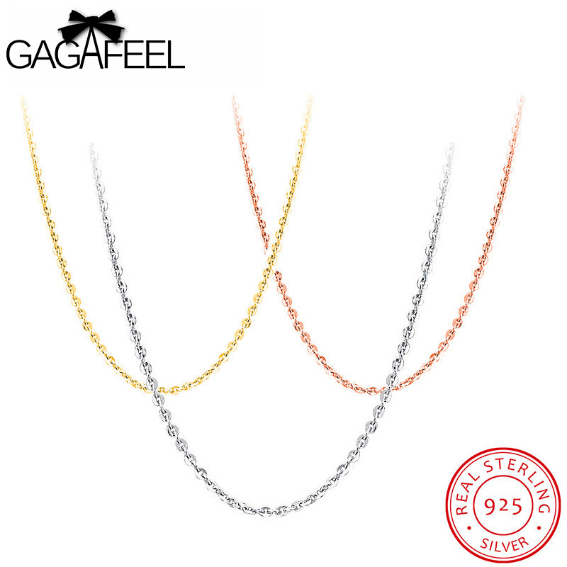 GAGAFEEL 100% Sterling Silver Jewelry Necklaces Chains Fit Pendants Thin Link Clavicle Extend Chain Gold/Rose Gold/Silver Color 2017 factory rose gold color 100% 925 sterling silver black blue stone paved cute hamsa hand link box chain gold color bracelet